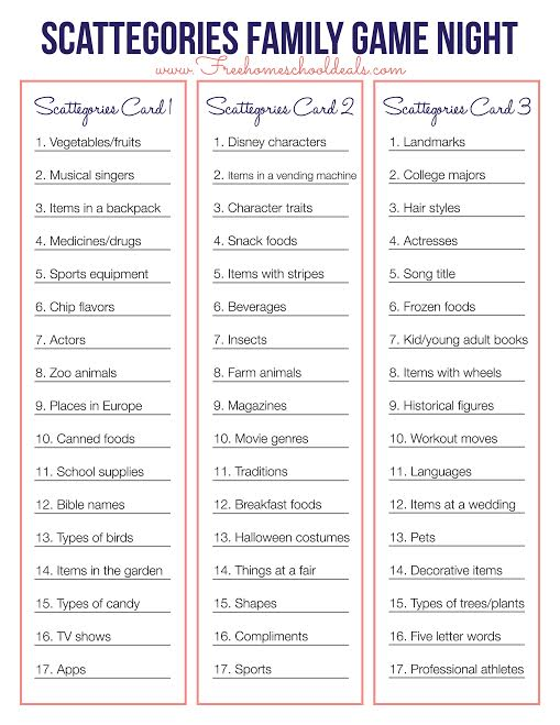 FREE SCATTEGORIES GAME PRINTABLE (Instant Download) Free