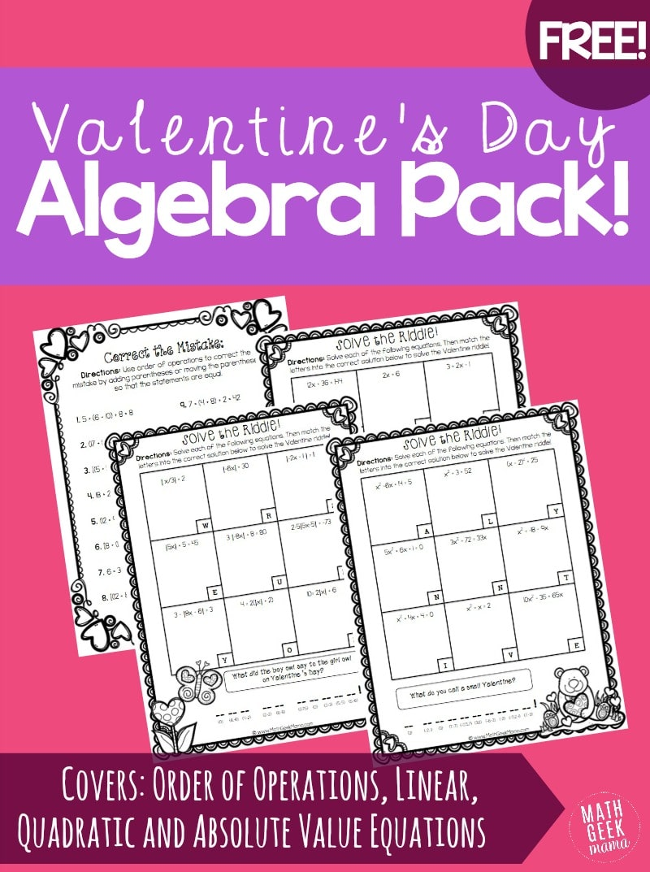 Free Valentines Day Algebra Riddles Pack Free