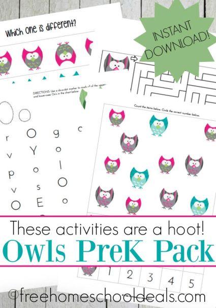 FREE OWLS PRESCHOOL PRINTABLE PACK (Instant Download)