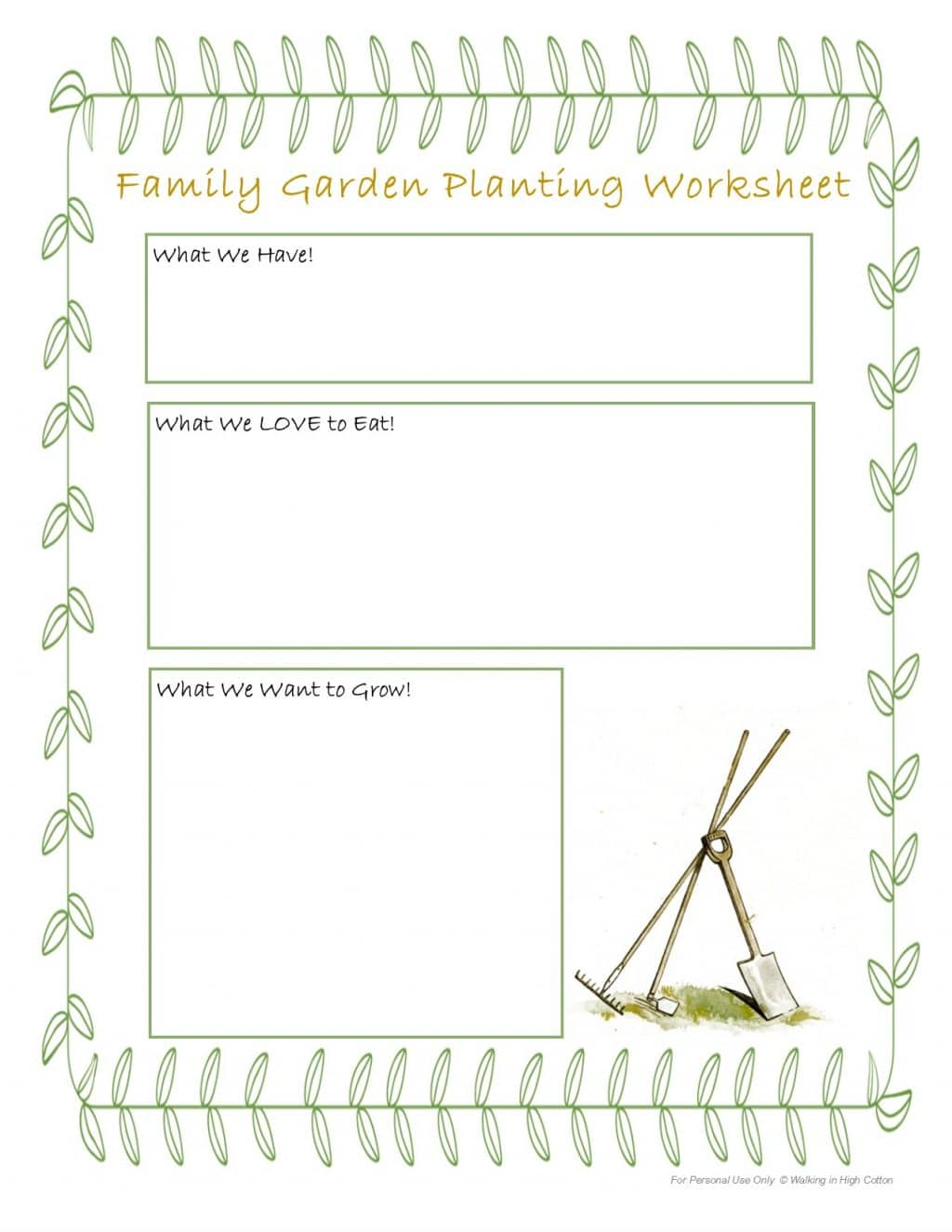 Gardening Worksheet For Schools