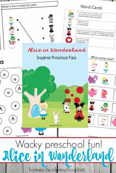 Free Alice in Wonderland Preschool Pack