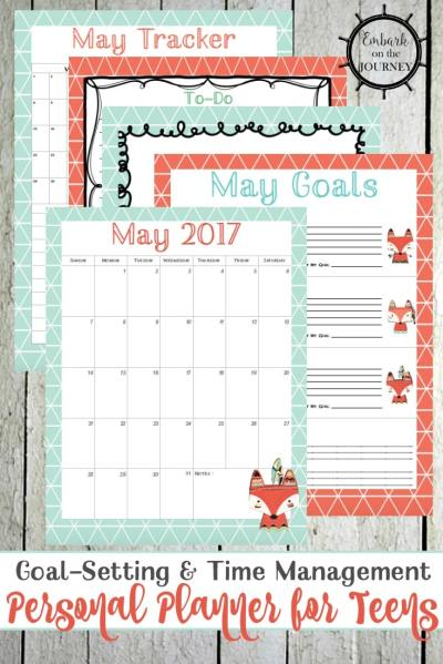 Free May Personal Planner Pages for Teens