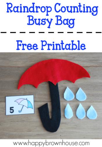 Umbrella Raindrop Counting Busy Bag