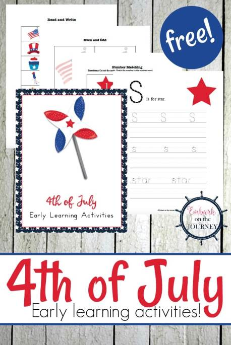 Free 4th of July Printable Pack for PreK-2