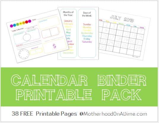 Kindergarten Calendar Printables