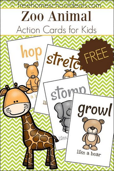 free zoo animal action cards instant download free homeschool deals. Black Bedroom Furniture Sets. Home Design Ideas