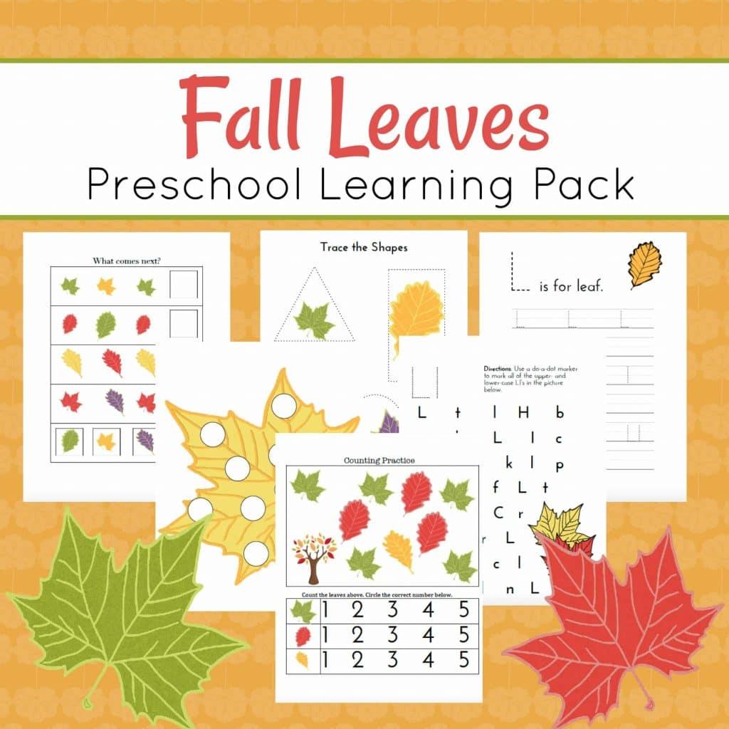 Worksheet For Preschool Fall Leave On