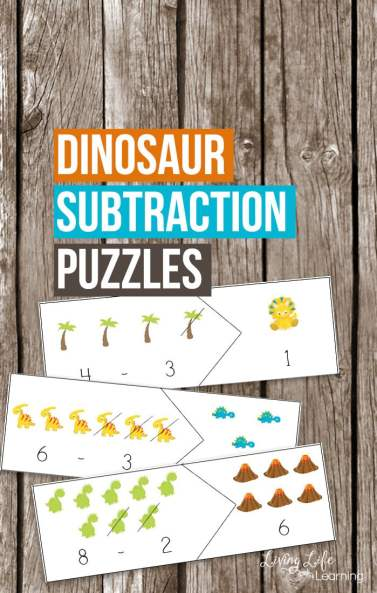 Free Dinosaur Subtraction Puzzles