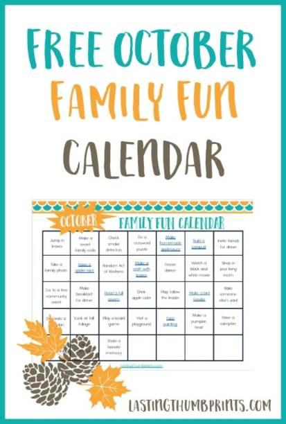 Free October Family Fun Calendar