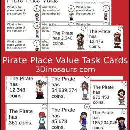 Free Pirate Place Value Task Cards