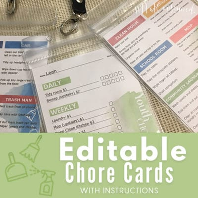 Free Editable Chore Cards for Kids