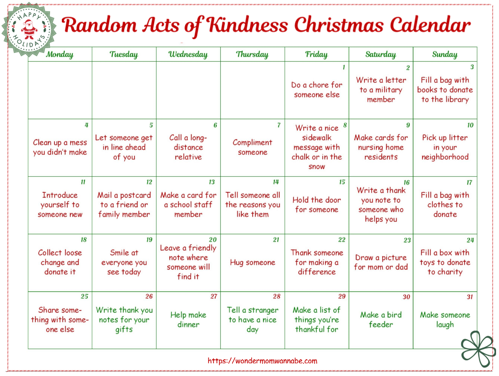 free random acts of kindness christmas calendar free. Black Bedroom Furniture Sets. Home Design Ideas