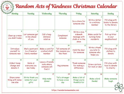 Free Random Acts of Kindness Christmas Calendar