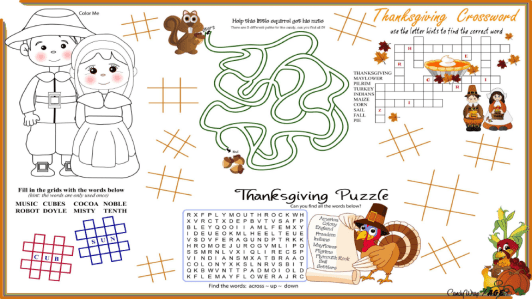 Free Thanksgiving Activity Placemats for Kids