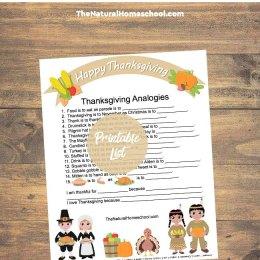 Free Thanksgiving Analogies Printable