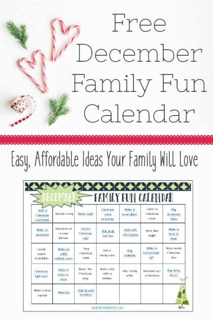 Free December Family Fun Calendar