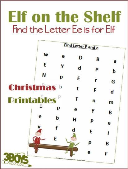 Free E is for Elf Letter Find Worksheets