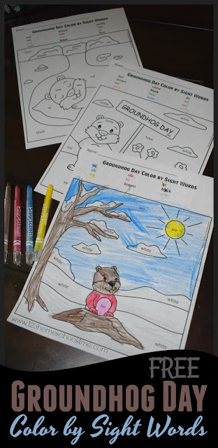 Free Groundhog's Day Color by Sight Word Pages