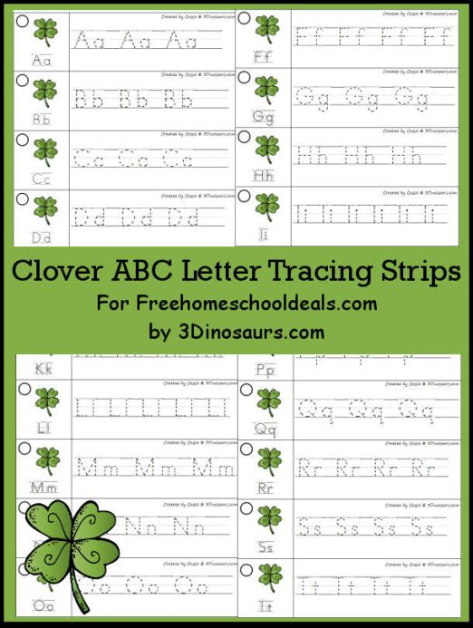 FREE CLOVER ABC TRACING STRIPS (Instant Download)