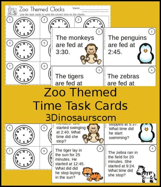 Free Zoo Themed Time Task Cards