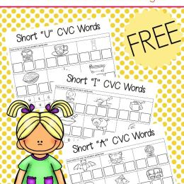 FREE CVC CUT & PASTE WORKSHEETS (Instant Download)