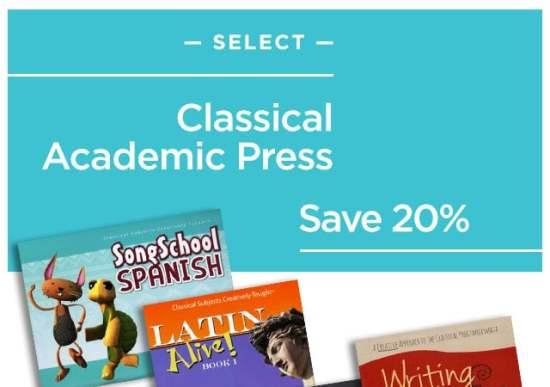 20% Off Classical Academic Press Curriculum