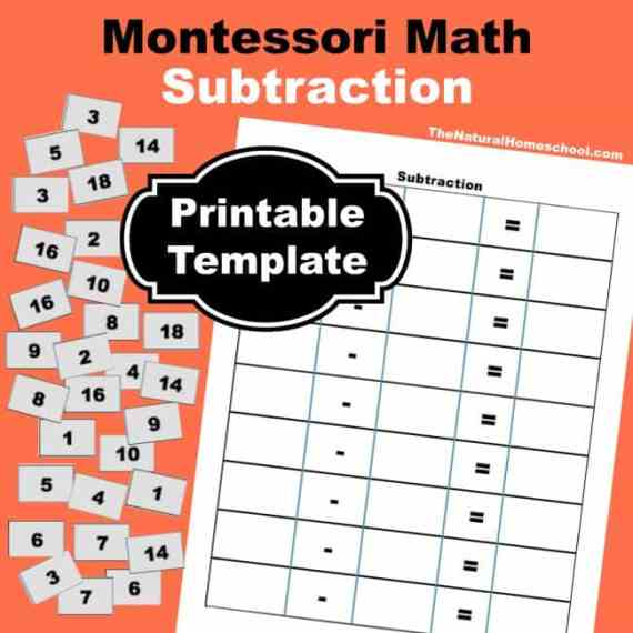 Free Montessori Math Subtraction Square Worksheet