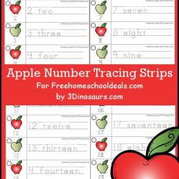 FREE APPLE NUMBER TRACING STRIPS (Instant Download)