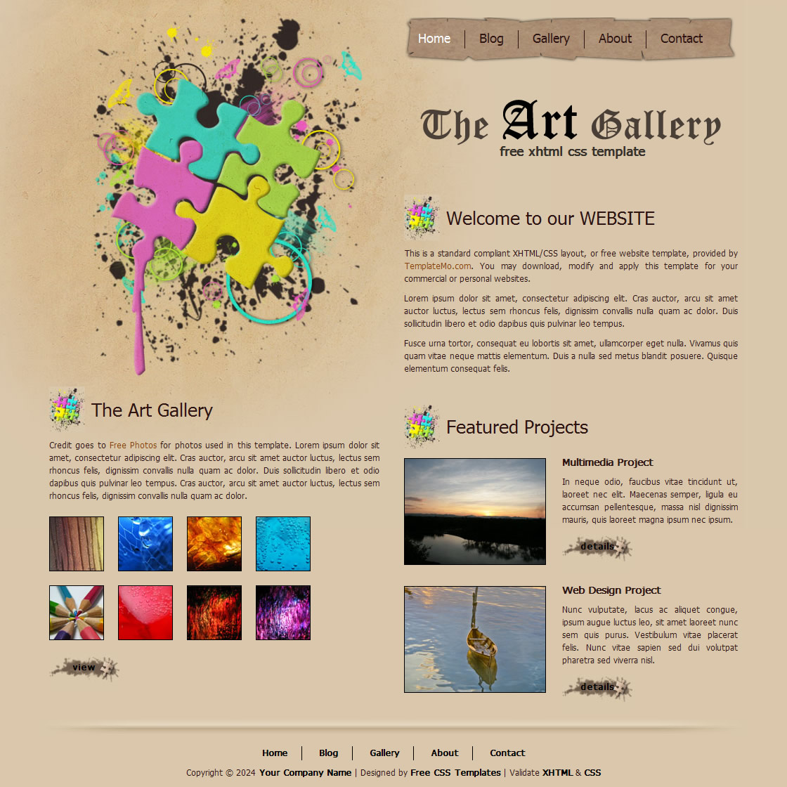 Free Web Template With Gallery Page: Free HTML Website Templates