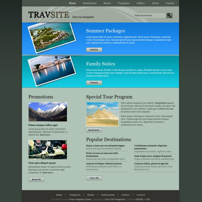 Travel site template travel website template is a 2 column clean and neat standards compliant html css layout pronofoot35fo Images