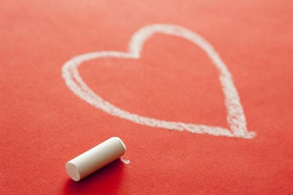 Free Stock Photo 11534 White Chalk Beside Heart Drawn on