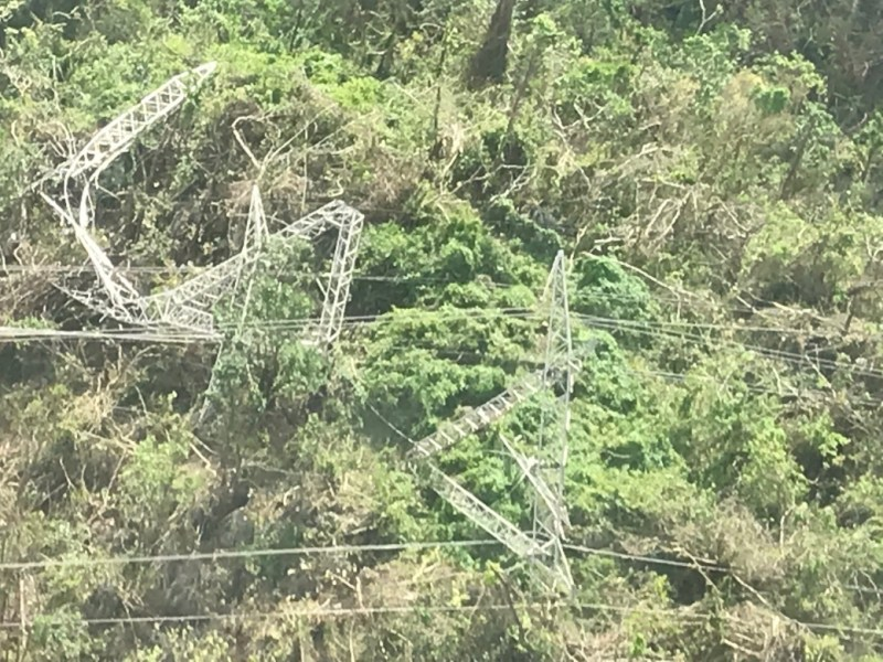 Power Lines destroyed in Puerto Rico due to hurricane maria