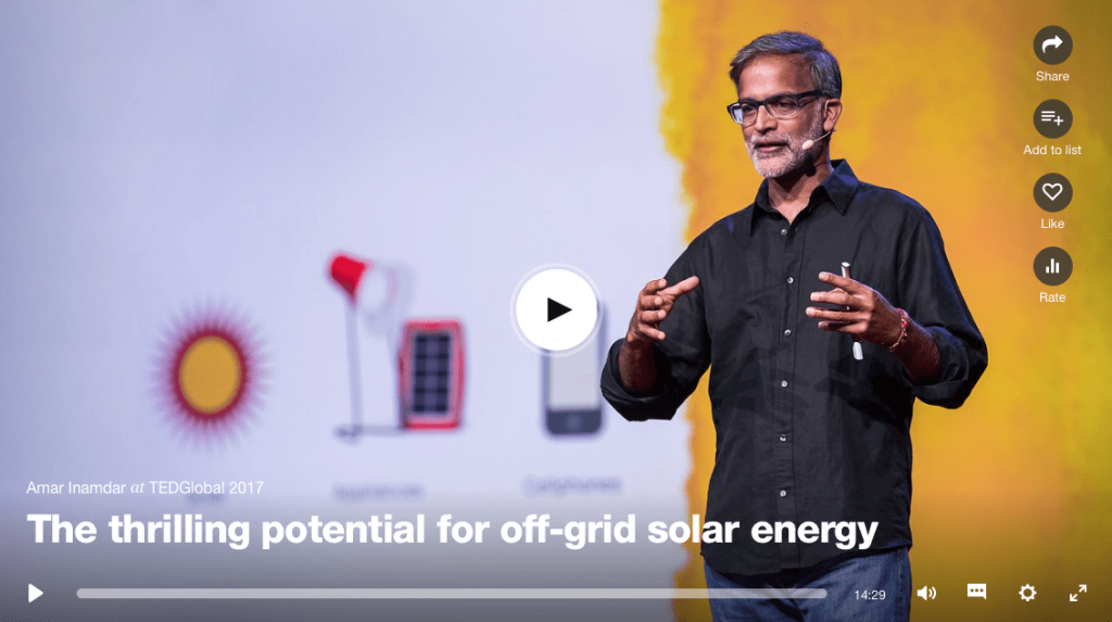 Amar Inamdar TED talk - the thrilling potential for off-grid solar energy