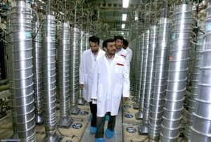 Iranian President Mahmoud Ahmadinejad during a tour of centrifuges at Natanz in 2008