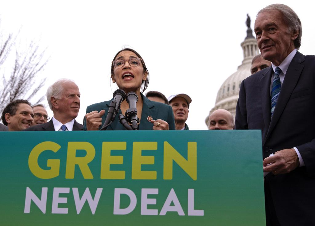 Alexandria Ocasio-Cortex and John Markey introducing the Green New Deal, source: Alamy