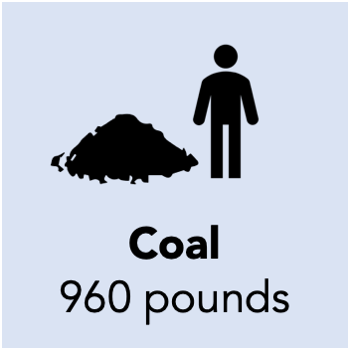 960 pounds of coal is needed to generate a megawatt hour of electricity
