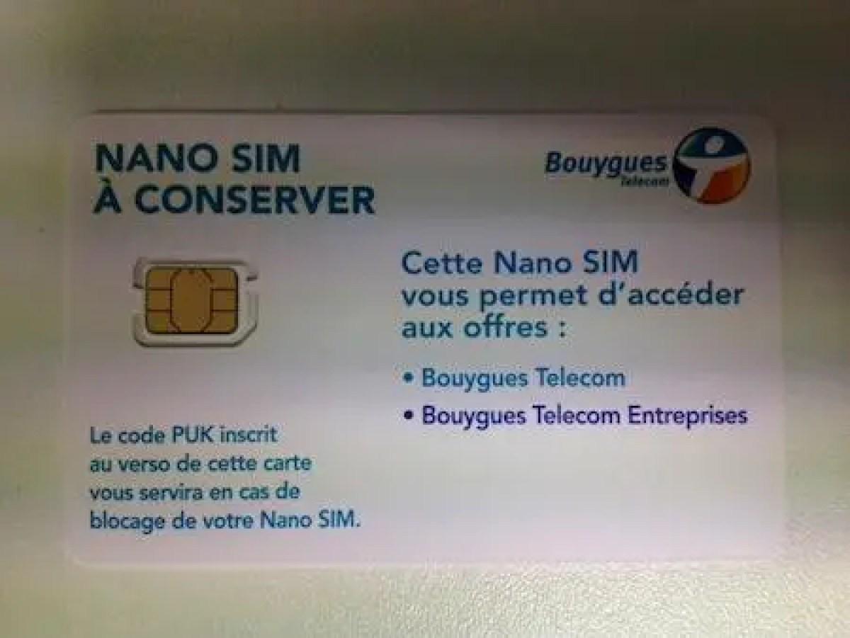 carte nano sim bouygues Voici la carte nano SIM de Bouygues Teleen images   Free