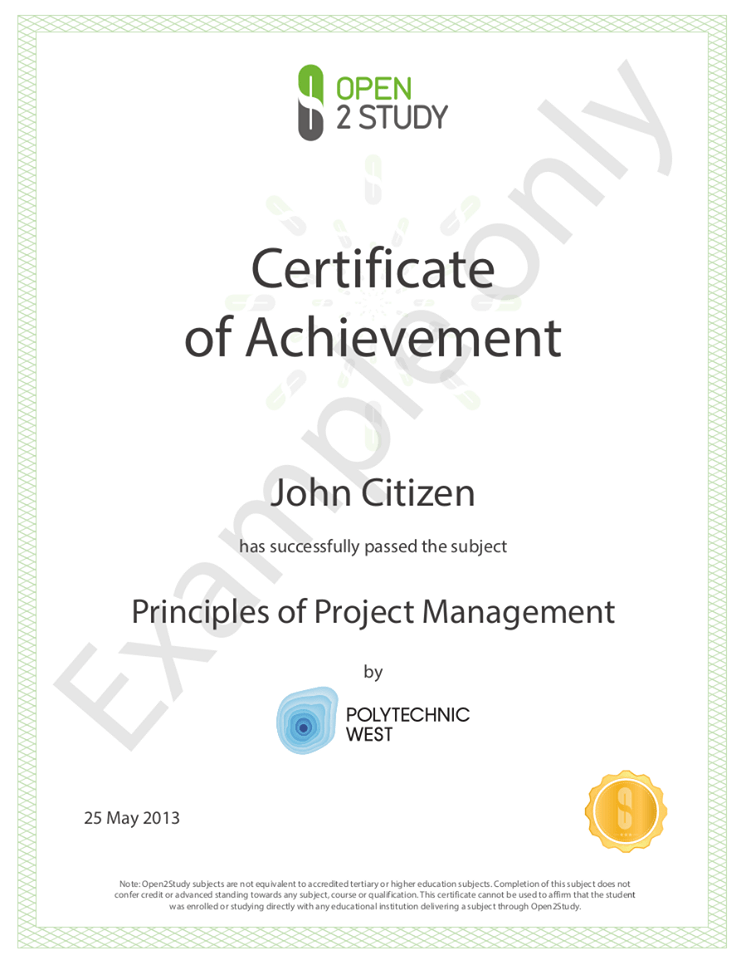 Certificate Of Achievement From Open2Study  Free Certificate Of Achievement