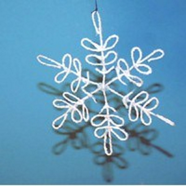 Snowflake made from string and fabric stiffener.