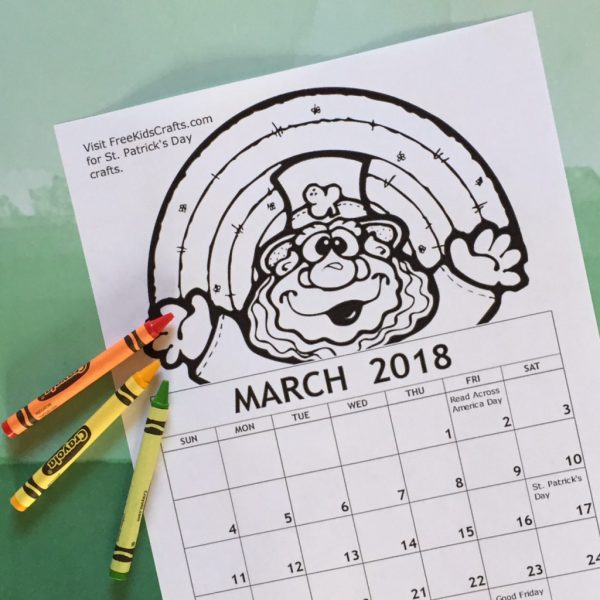 Printable 2018 March Coloring Calendar for kids.