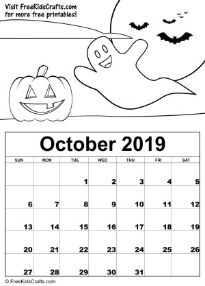 Image of Printable October Coloring Calendar