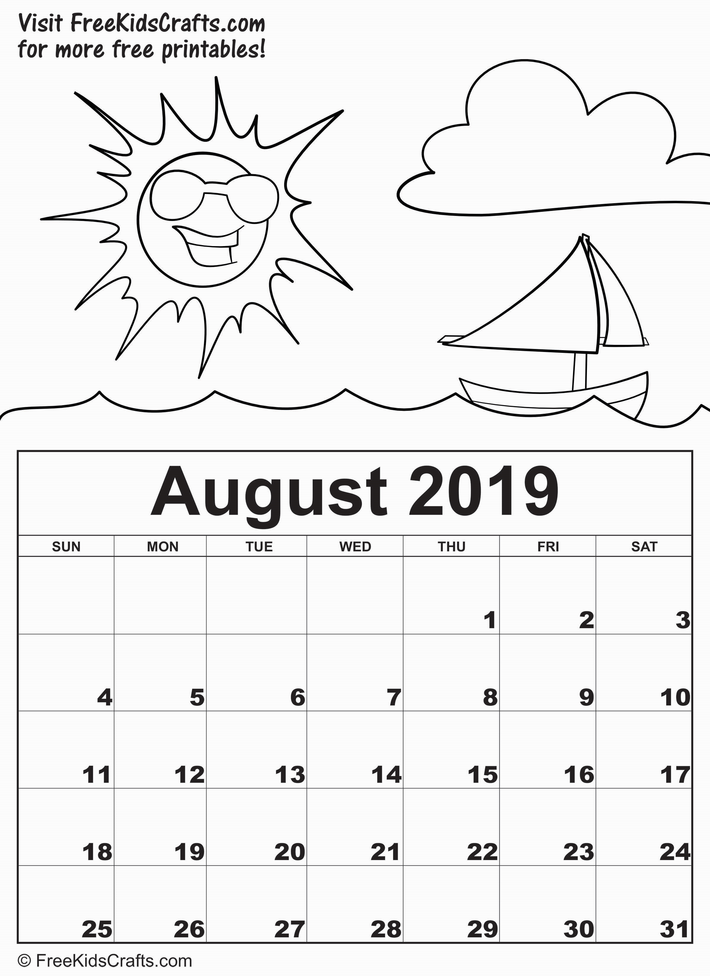 Printable 2019 August Calendar for young children