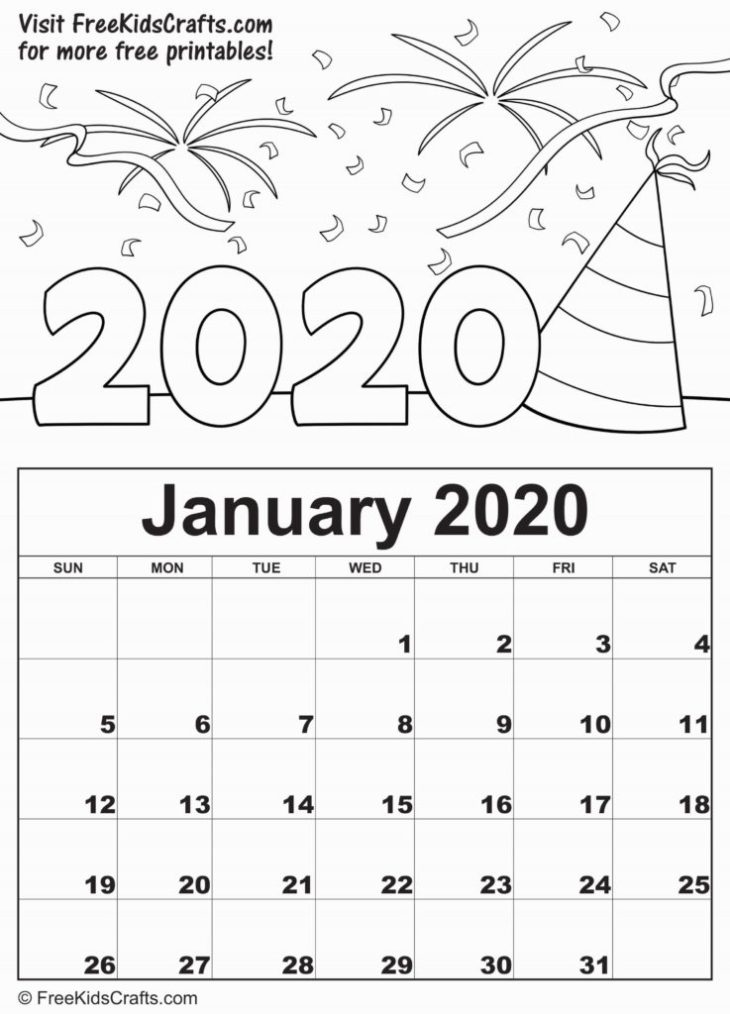 2020 Printable January Coloring Calendar