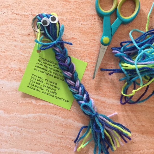Braided yarn and poem for weather forecaster.r