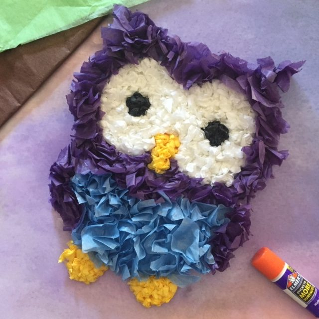 Owl made from tissue paper