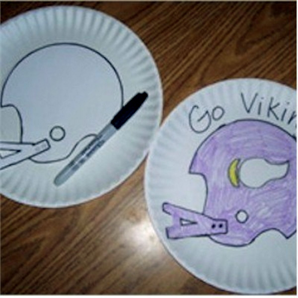 Football stencils made from paper plates