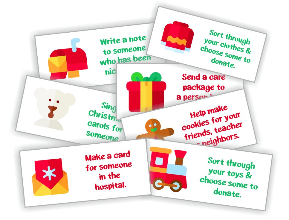 Printable Christmas Advent Calendar of Activities for kids