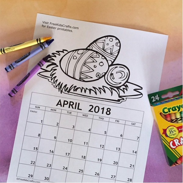 Image of Printable April Coloring Calendar