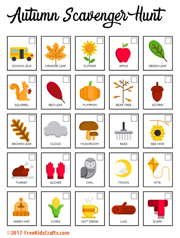 image about Fall Scavenger Hunt Printable called Printable Autumn Scavenger Hunt