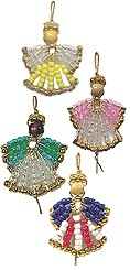 Beaded Safety Pin Angel Ornaments